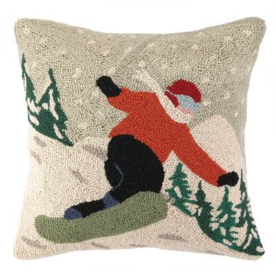 Holiday Snowboarder Hook Wool Throw Pillow