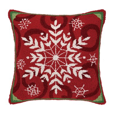 Holiday Snowflakes Square Hook Wool Throw Pillow