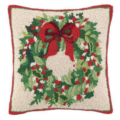 Classic Christmas Wreath Hook Wool Throw Pillow