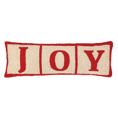 Joy Christmas Blocks Hook Wool Throw Pillow