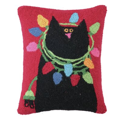 Cat with Lights Hook Wool Throw Pillow