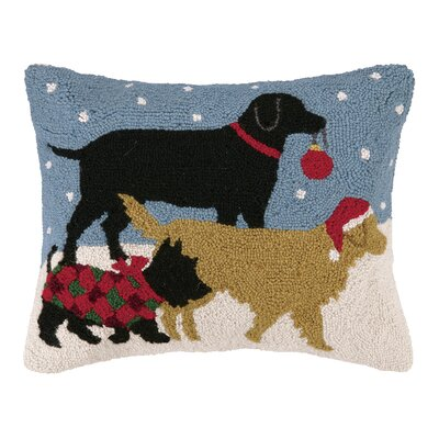Holiday Pups Hook Wool Throw Pillow
