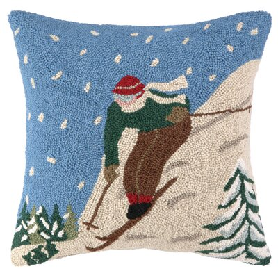 Ski with Snow Hook Wool Throw Pillow