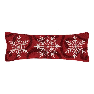 Holiday Snowflakes Lumbar Hook Wool Throw Pillow