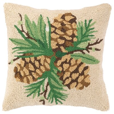 Bayberry Pine Hook Wool Throw Pillow