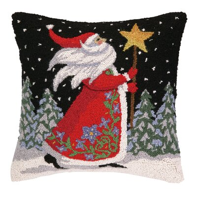 Santa with Stars Hook Wool Throw Pillow
