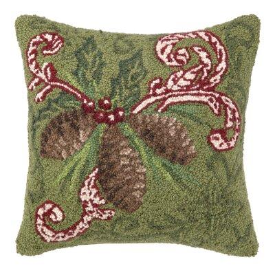 Pine Cone Damask Hook Wool Throw Pillow