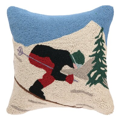Holiday Ski Hook Wool Throw Pillow