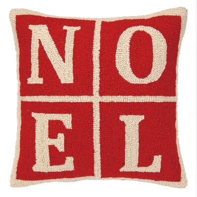 Noel Christmas Blocks Hook Wool Throw Pillow