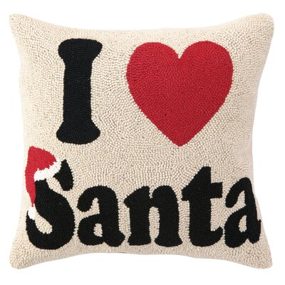 I Heart Santa Hook Wool Throw Pillow