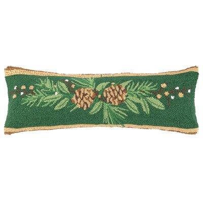 Bayberry Pine Lumbar Hook Wool Throw Pillow