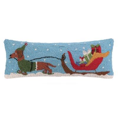 Santas Sleigh Dachshund Hook Wool Throw Pillow