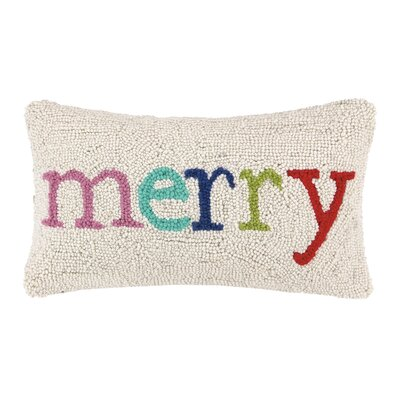 Merry Holiday Hook Wool Lumbar Pillow