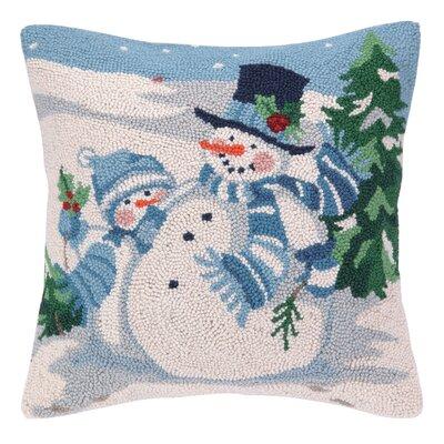 Snowman and Friends Hook Wool Throw Pillow