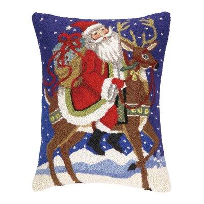 Santa and Reindeer Hook Wool Throw Pillow
