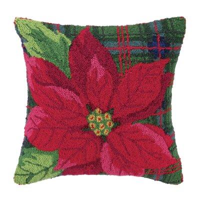 Poinsettia Hook Wool Throw Pillow
