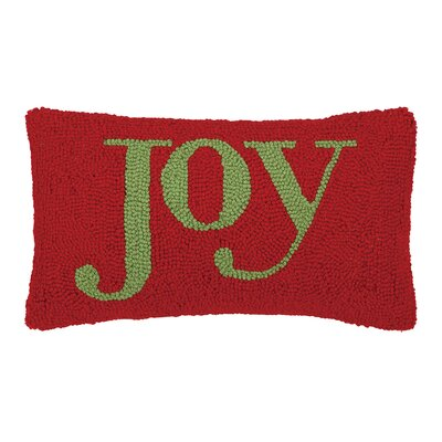 Joy Lettering Hook Wool Throw Pillow