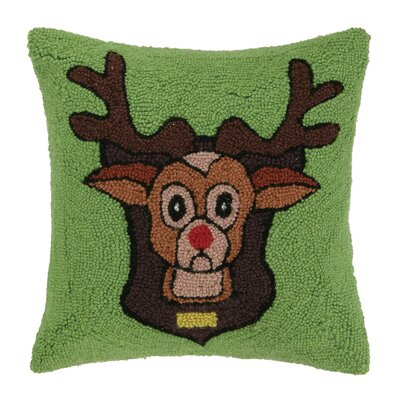 Reindeer Games Hook Wool Throw Pillow