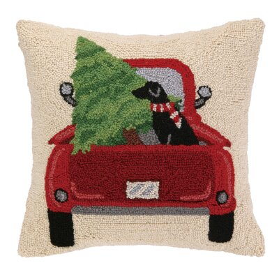 Lab and Christmas Tree Truck Hook Wool Throw Pillow