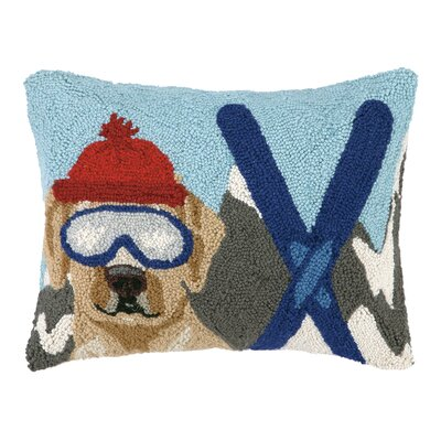 Lab Dog Skiing Hook Wool Throw Pillow