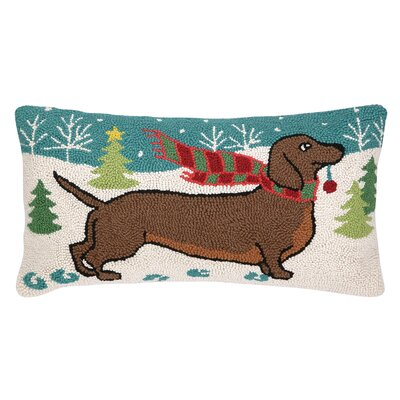Holiday Doxie Hook Wool Throw Pillow