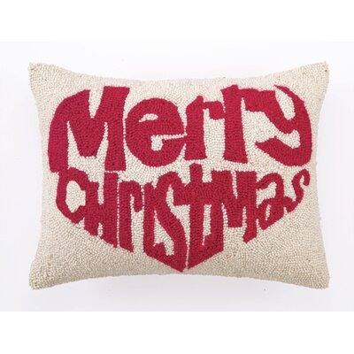 Merry Christmas in Heart Hook Wool Throw Pillow