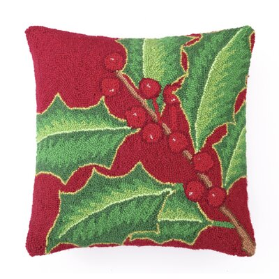 Holly Berry Hook Wool Throw Pillow Color: Red