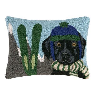 Lab Dog Skiing Hook Wool Throw Pillow