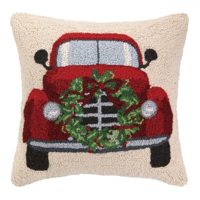 Holiday Car Hook Wool Throw Pillow