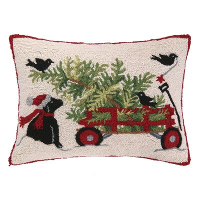 Dog and Wagon Hook Wool Throw Pillow