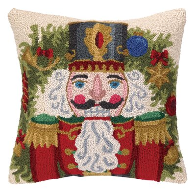 Nutcracker in Red Hook Wool Throw Pillow