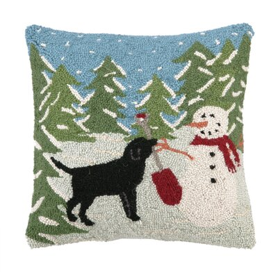 Snow Playing Hook Wool Throw Pillow