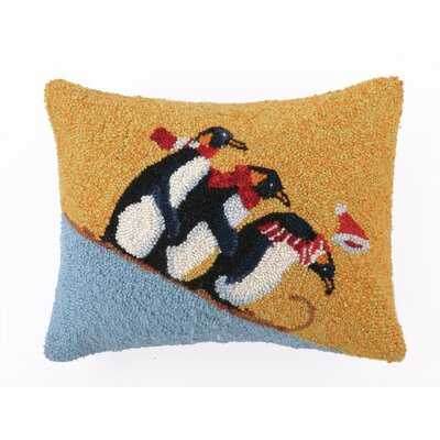 Sledding Penguins Hook Wool Throw Pillow