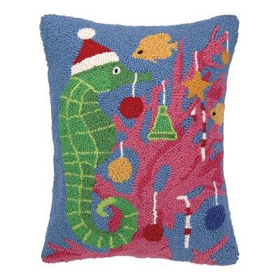 Seahorse Christmas Hook Wool Throw Pillow
