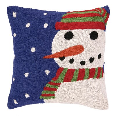 Snowy Night Snowman Hook Wool Throw Pillow