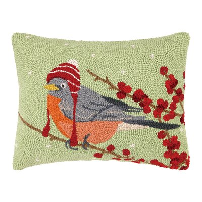 Winter Bird Hat Hook Wool Throw Pillow