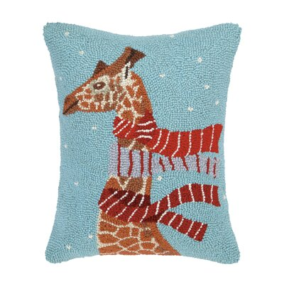 Giraffe with Scarves Hook Wool Throw Pillow