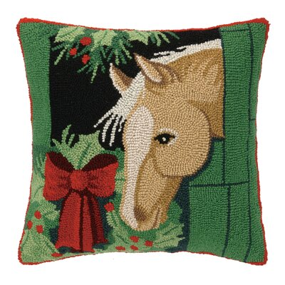Horse Hook Wool Throw Pillow