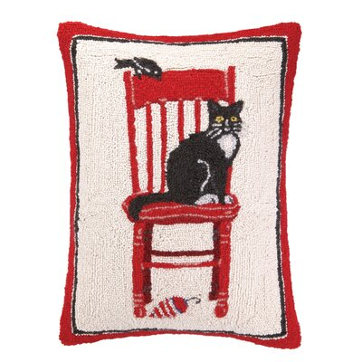 Cat and Chair Hook Wool Throw Pillow