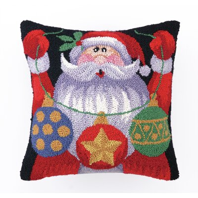 Santa with Ornaments Hook Wool Throw Pillow