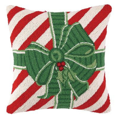 Especially For You Bow Striped Hook Wool Throw Pillow