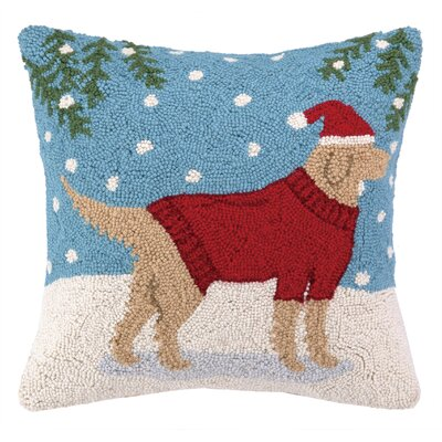Lab in Sweater Hook Wool Throw Pillow
