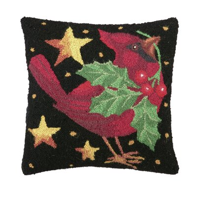 Holiday Cardinal Hook Wool Throw Pillow