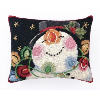Snowman with Lights Hook Wool Throw Pillow