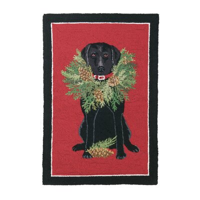 Black Lab Wreath Hook Area Rug