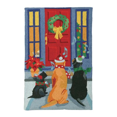 Carolling Dogs Hook Area Rug