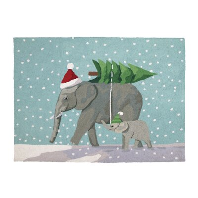 Christmas Elephants Hook Area Rug