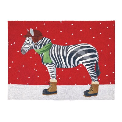 Winter Zebra Hand-Hooked Multi-color Kids Rug