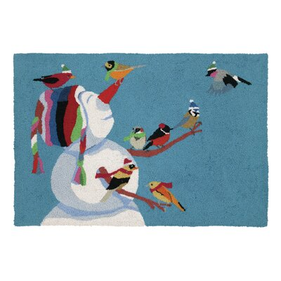 Snowman Birdies Hook Area Rug