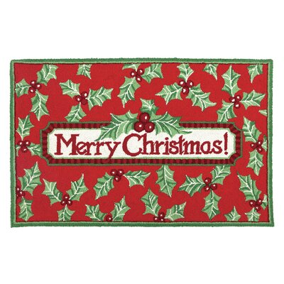 Merry Christmas Holly Hook Area Rug